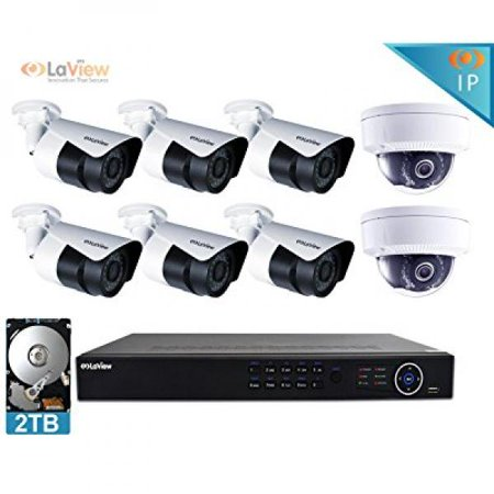 LaView 6 MP 8 Camera Security System W/ 2TB HDD 2 Dome & 6 Bullet Hi-Res Camera, White