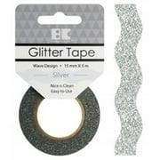 Best Creation Designer Glitter Tape 15mmX5m-Silver Wave