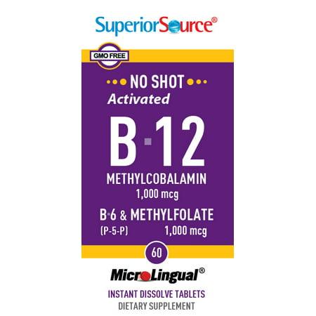 Superior Source No Shot Activated B-12 (Methylcobalamin) 1,000 mcg/ B-6 (as Pyridoxal-5'-phosphate) 2 mg/Methylfolate 1,000 mcg, MicroLingual® Tablets, 60
