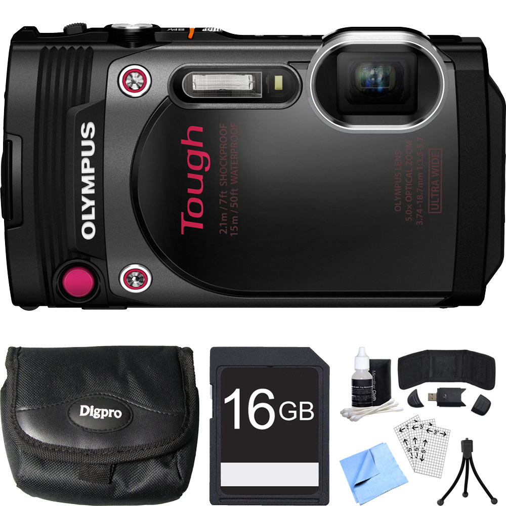 Olympus TG-870 Tough Waterproof 16MP Black Digital Camera 16GB SDHC Memory Card Bundle includes Camera, Case, Card, Reader, Wallet, Mini Tripod, Screen Protectors, Cleaning Kit and Beach Camera Cloth