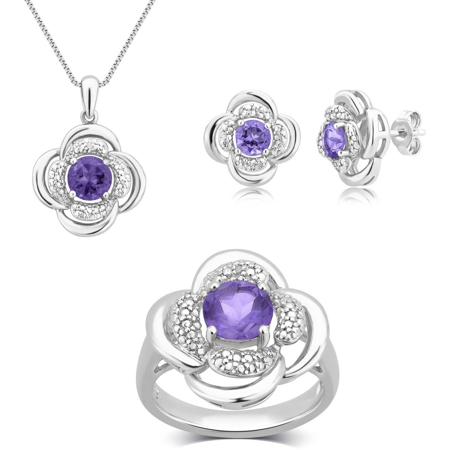 "Round White Diamond Accent and Amethyst Silver-Tone Brass Ring, Earrings and Pendant Set, 18"" by Unique Designs Inc."