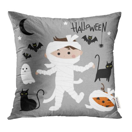USART Cartoon Cute Mummy Halloween Ghost Pumpkin Character Costume Creepy Dead Funny Pillow Case Pillow Cover 16x16 inch Throw Pillow - Mummy Cartoon Halloween