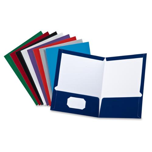 "Oxford Laminated Twin Pocket Folder - 8.50"" X 11"" Letter Sheet Size - 100 Sheet Capacity - 2 Inside Front & Back Pockets - Assorted Colors (oxf-51730)"