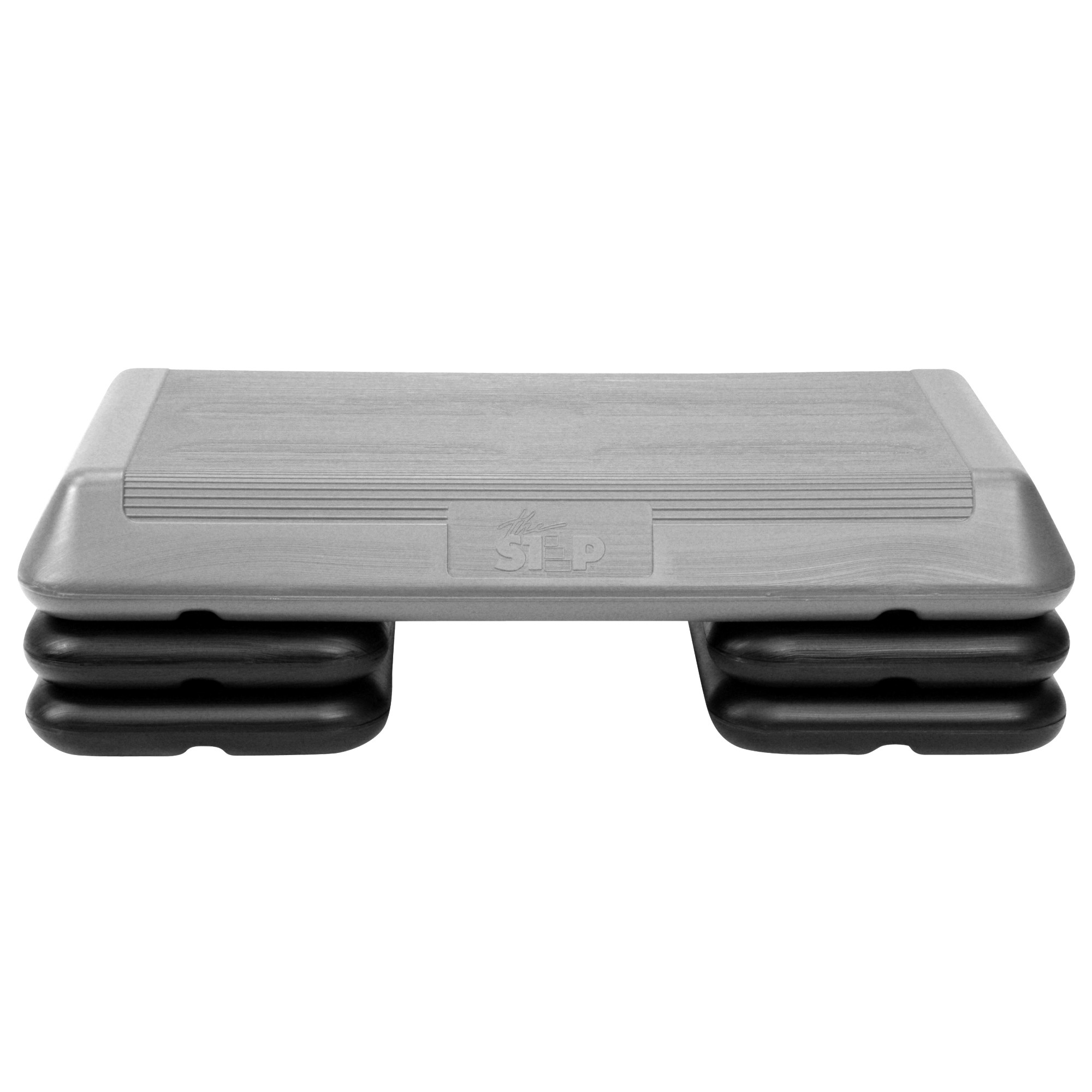 """The Step Original Aerobic Platform – Circuit Size Grey Aerobic Platform and Four Original Black Risers Included with 4"""", 6"""", and 8"""" Platform Height Options"""