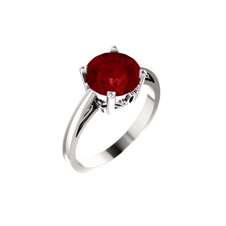 14k White Gold Gem Quality Chatham® Created Ruby Solitaire Gemstone