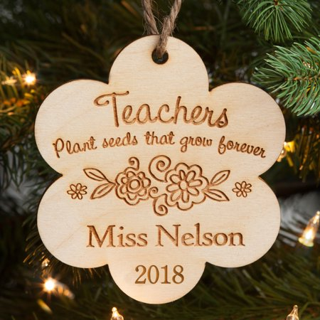 Personalized Teachers Christmas Wood Christmas Ornament - Teachers Plant the Seeds ()