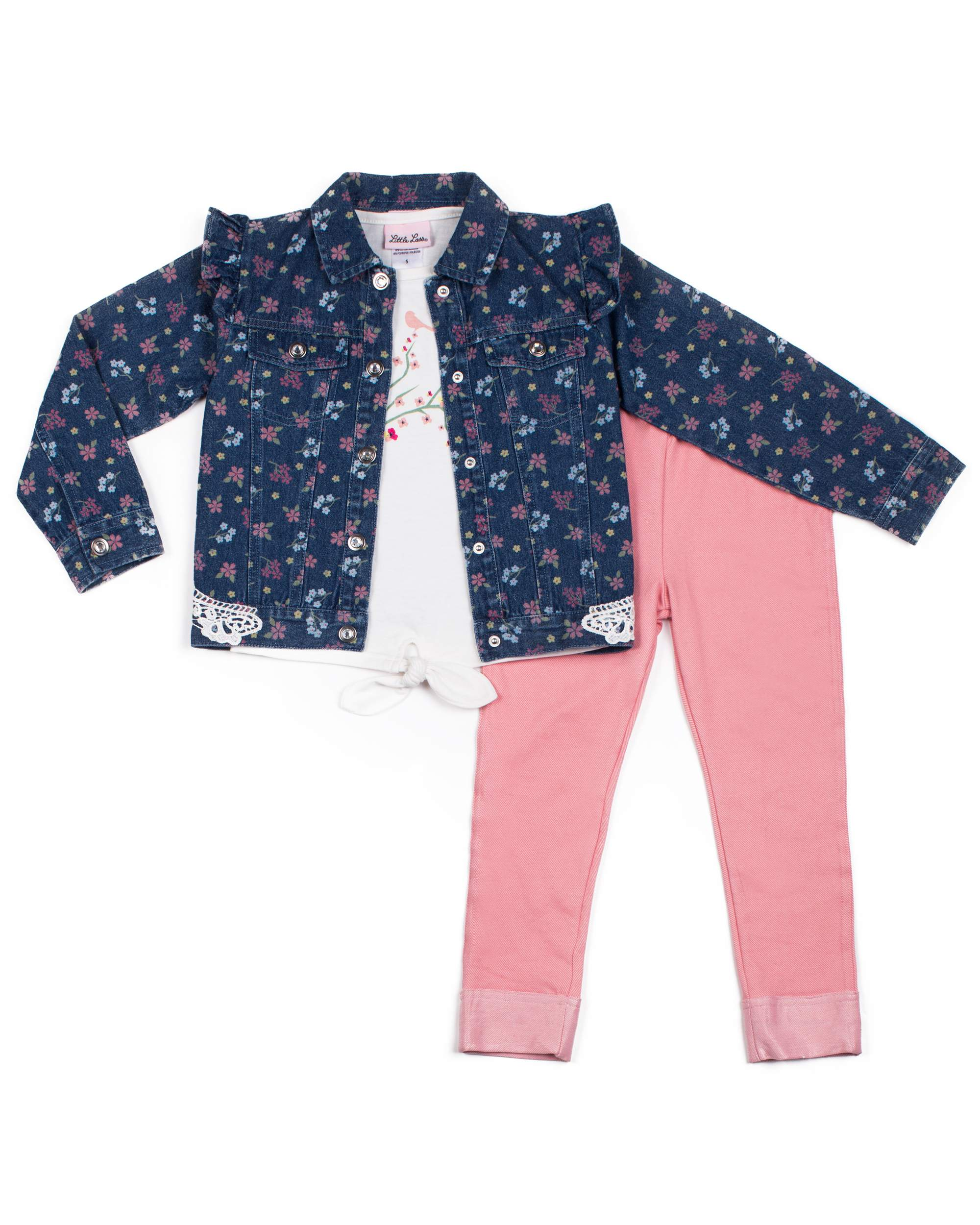 Printed Denim Jacket, Tie Front Tee and Legging, 3-Piece Outfit Set (Little Girls)