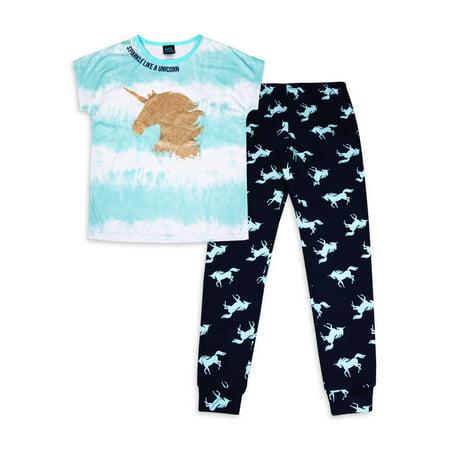 Jellifish Kids Girls Sleep T-Shirt & Jogger Pants Pajama Set, Sizes 4-14