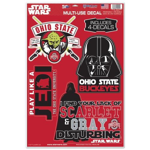 Ohio State Buckeyes Official NCAA 11 inch  x 17 inch  Star Wars Darth Vader Car Window Cling Decal by WinCraft