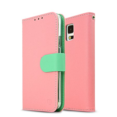 size 40 6dc49 cceff Samsung Galaxy S5 Wallet Case, REDshield [Baby Pink/ Mint] Faux Leather TPU  Case w/ Credit Card Slots, Wrist Strap, Stand Function + Free Screen ...