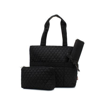 Quilted Diaper Bag 3 Piece Set Solid Black Trim By
