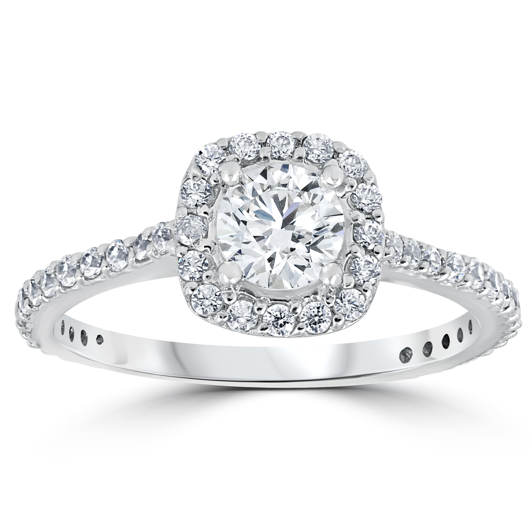 1 1 5ct TDW Cushion Halo Round Diamond Engagement Ring White Gold Solitaire by Pompeii3