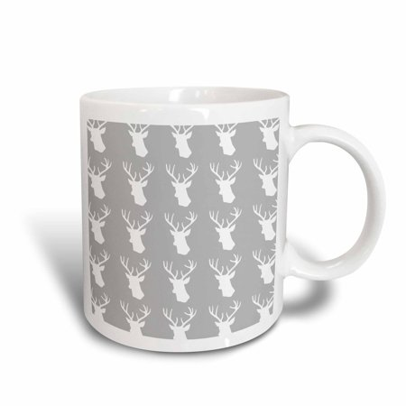 3dRose White deer head pattern on grey. Stag with antlers on gray silver, Ceramic Mug, (Ceramic Deer Head With Holes For Antlers)