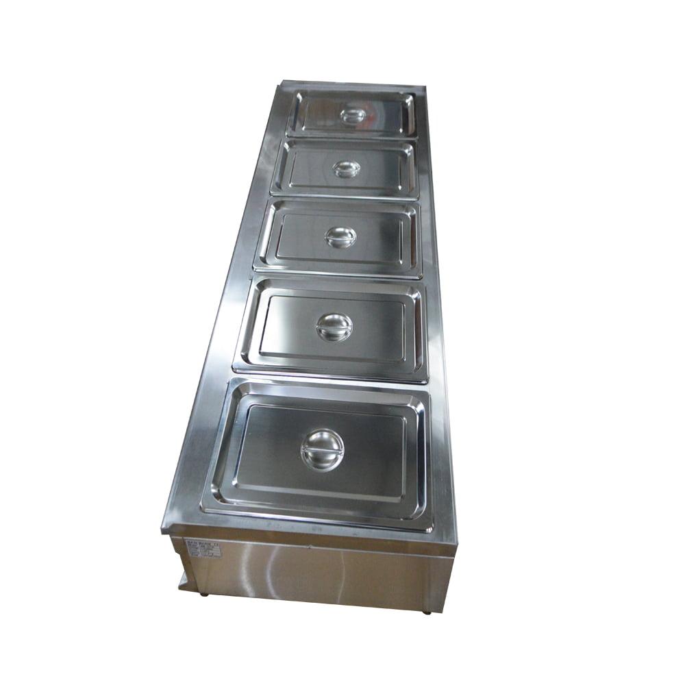 5-Well Bain-Marie Buffet Food Warmer Restaurant Kitchen Equipment with Pans&Lids by