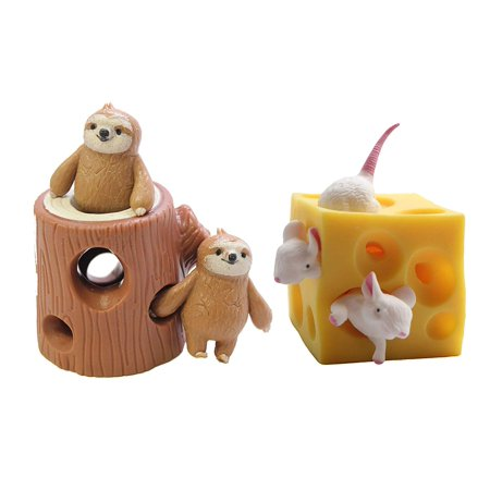 Peek A-boo Mouse (SET OF 2 - Peek a Boo Fidget Toys - Sloths in Tree Stump - Mouse and Cheese Stretchy Fidget Toy - Soothing Calm Anxiety Focus ADD ADHD )