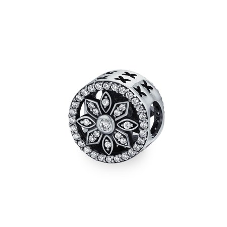 White Crystal Filigree Spacer Open Round Disc Flower Charm Bead For Women 925 Sterling Silver Fits European Bracelet