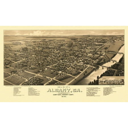 Vintage Map Of Albany Georgia 1885 Dougherty County Poster Print