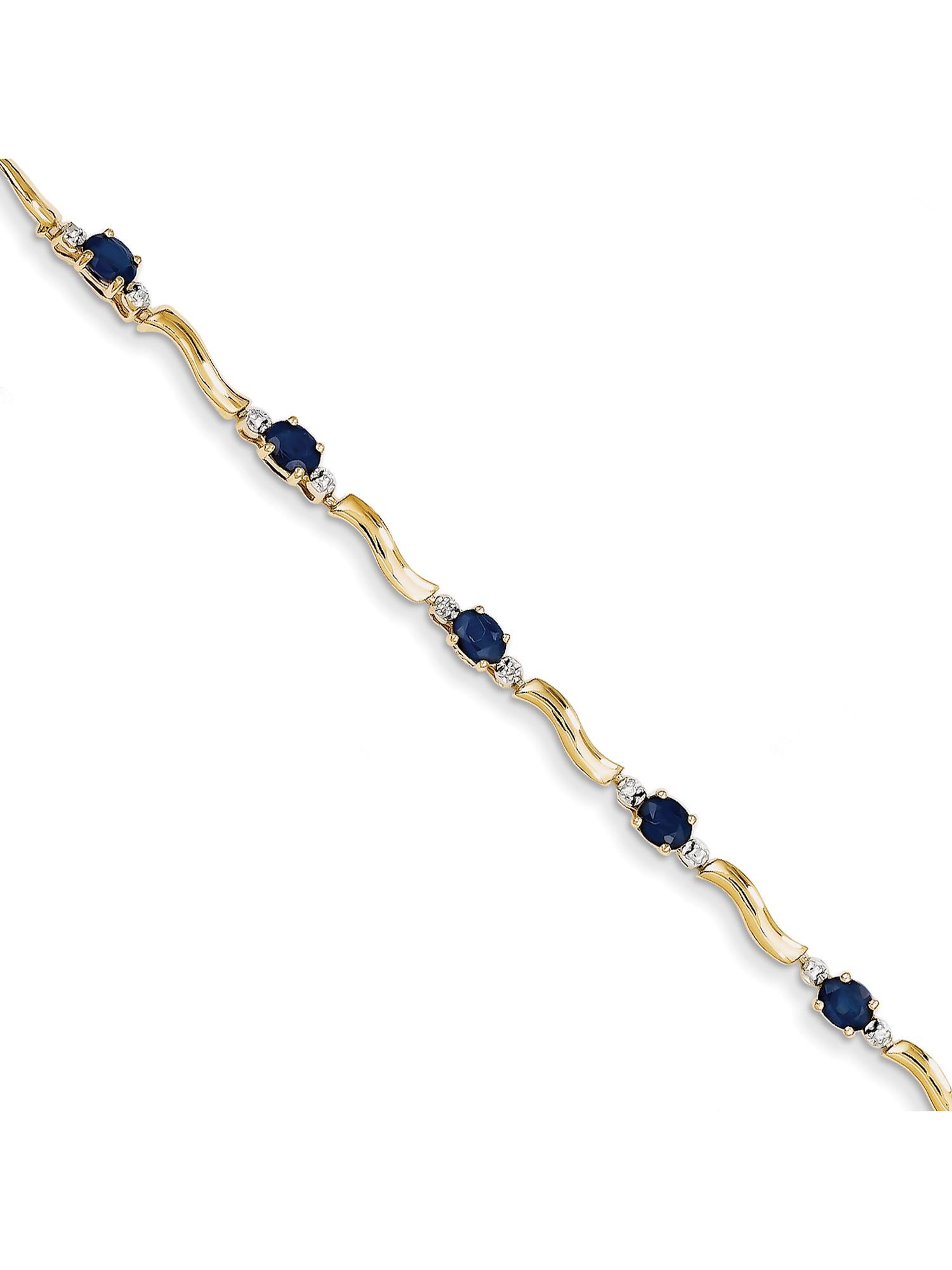 14k Yellow Gold Diamond and Sapphire Bracelet by