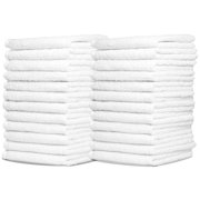 Wash Cloth Towels by Zeppoli, 60-Pack, 100% Natural Cotton, 12 x 12, Soft and Absorbent, Machine Washable, White (60-Pack)