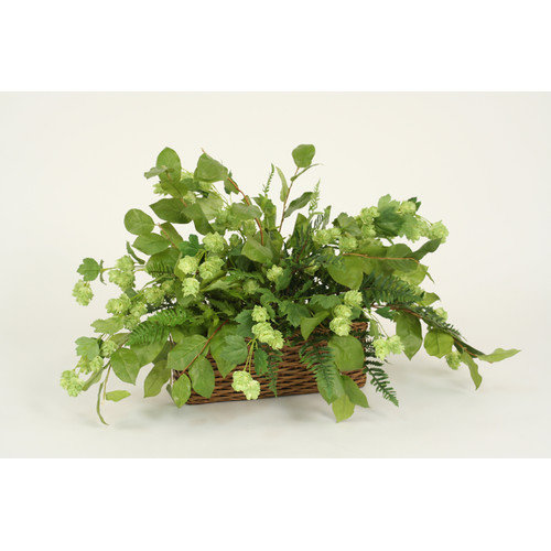 Distinctive Designs Silk Hops, Marsh Fern and Lemon Leaf Floor Plant in Basket