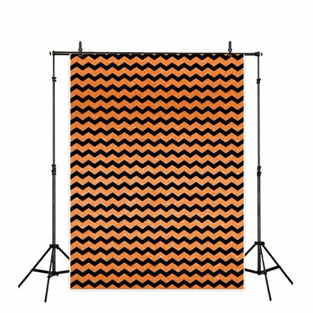 GreenDecor Polyster Photography Background 5X7ft Halloween Chevron Sequin Black And Orange Backdrop Studio Photo Props for Photography