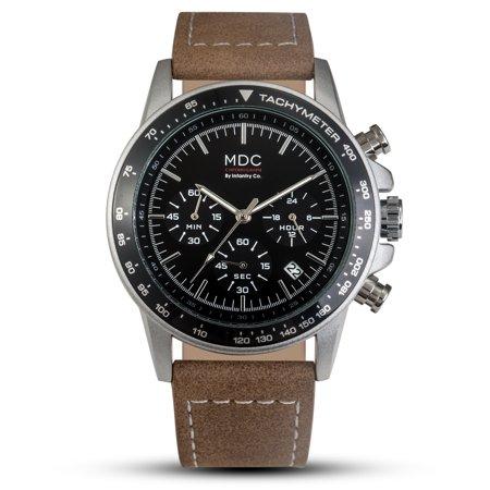 Analogue Dial Watch - Infantry Men's Analogue Quartz Wrist Watch Chronograph 24hrs Black Dial PU Brown
