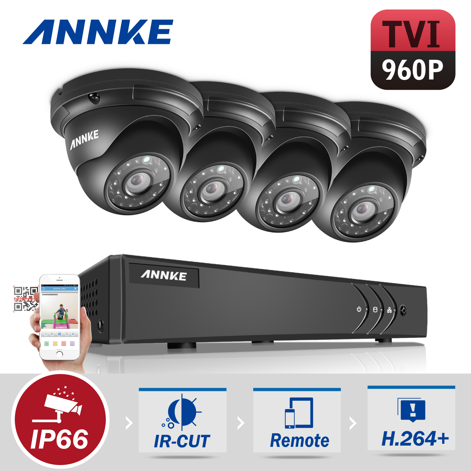 ANNKE HD 1080P 8CH CCTV System Video Recorder DVR 4PCS 960P 1.3MP Surveillance Camera IR CCTV kits for Home Security With NO HDD