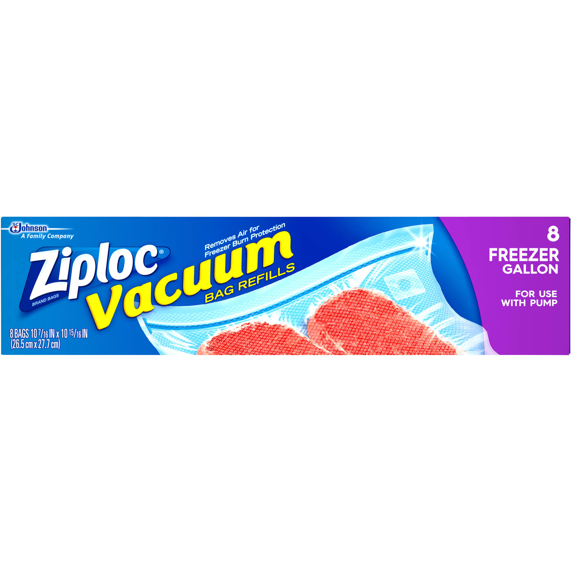 Ziploc Freezer Gallon Vacuum Bag Refills, 8 count