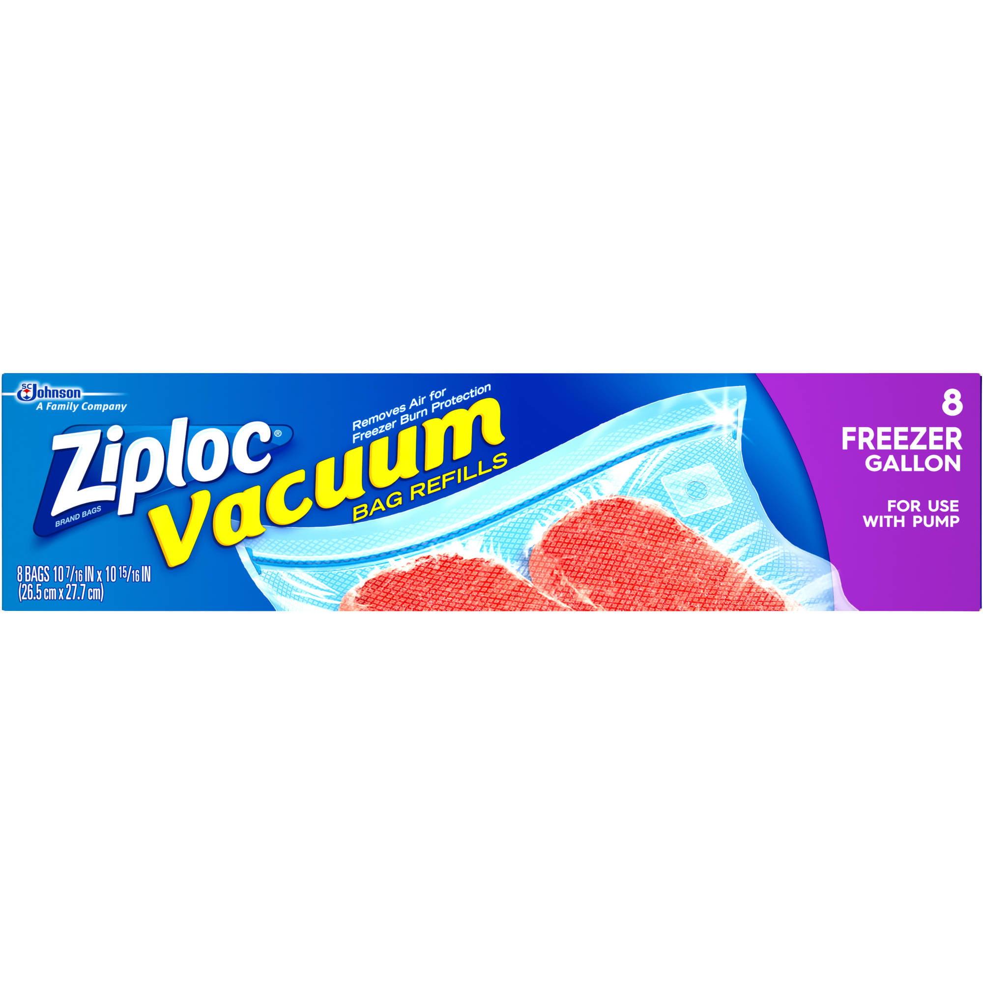 Ziploc Freezer Gallon Vacuum Bag Refills, 8 count
