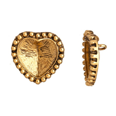 Connector/Focal, Antique-Gold Finished Beaded Frame Heart Cabochon/Inclay/Crystal Cup Settings 40x39mm With 27mmx28mm Mount