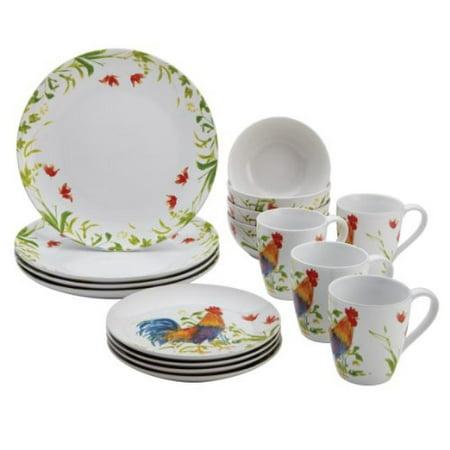 BonJour Dinnerware Meadow Rooster Stoneware 16-Piece Set, Print ...