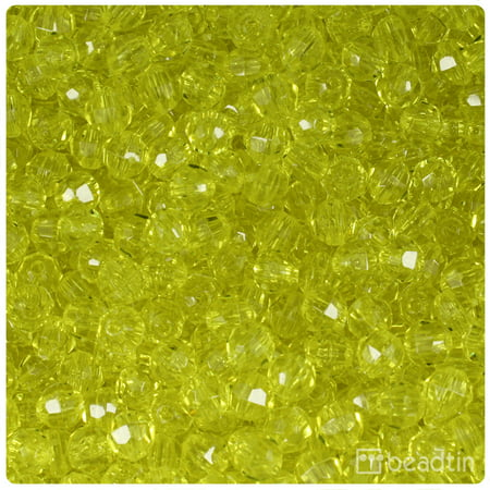 6 Mm Round Shape - BeadTin Yellow Transparent 6mm Faceted Round Craft Beads (750pcs)