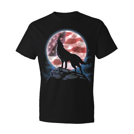 Lone Wolf Atop Summit Howls Beneath Star-spangled Moon T-Shirt X-Large