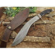 "Damascus Steel Kukri Knife 15 Inches custom made Hand Forged With 10"" long blade, Black Bull horn with engraved brass scale, Cow Leather Sheath"