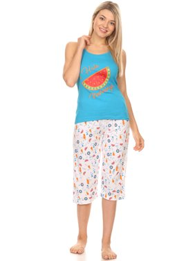 134C Womens Capri Set Sleepwear Pajamas Woman Sleeveless Sleep Nightshirt Blue XL