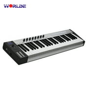 WORLDE Blue whale 49 Portable USB MIDI Controller Keyboard 49 Semi-weighted Keys 8 RGB Backlit Trigger Pads LED Display with USB Cable