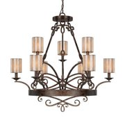 Capital Lighting Reserve - Nine Light Chandelier, Rustic Finish with Moonlit Mica Shade