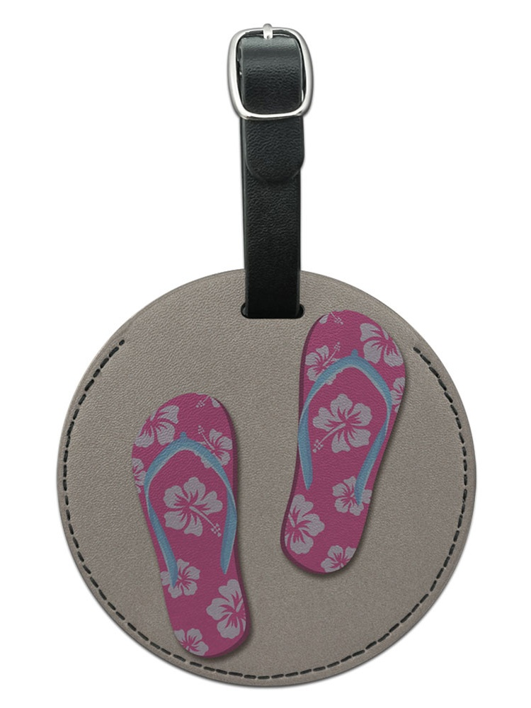 Graphics and More Pink Flip Flops on Sand Sandals Beach Round Leather Luggage ID Bag Tag Suitcase