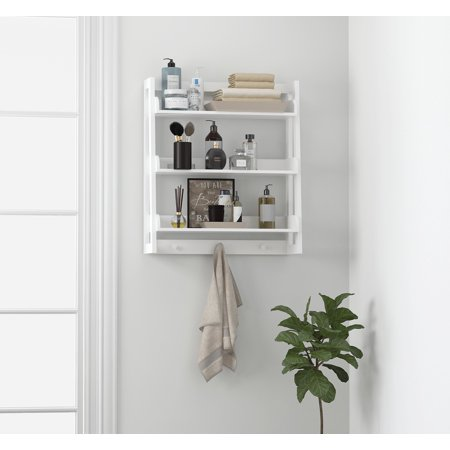 Spirich 3 Tier Bathroom Shelf Wall Mounted with Towel Hooks, Bathroom Organizer Shelf Over The Toilet (White) ()
