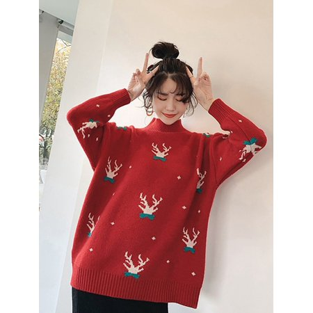 Fashion Women's Christmas Reindeer Cartoon Pattern Sweater Loose Casual Turtleneck Knit Pullover