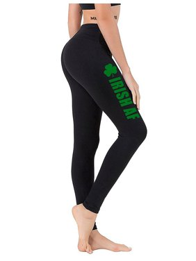 c7d740c13b563 Product Image Junior's Irish AF Shamrock V640 Black Athletic Workout  Leggings One Size ...