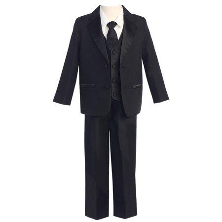Little Boys Black Two-Button 5 Pcs Special Occasion Tuxedo 3T Black 3 Button Tuxedo
