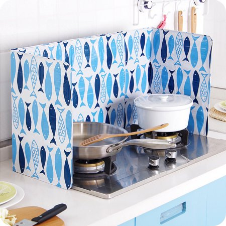 Kitchen Cooking Frying Pan Oil Splash Gas Stove Cover Anti Splatter Shield Guard Printing Fish, Hearthside,  baffle plate