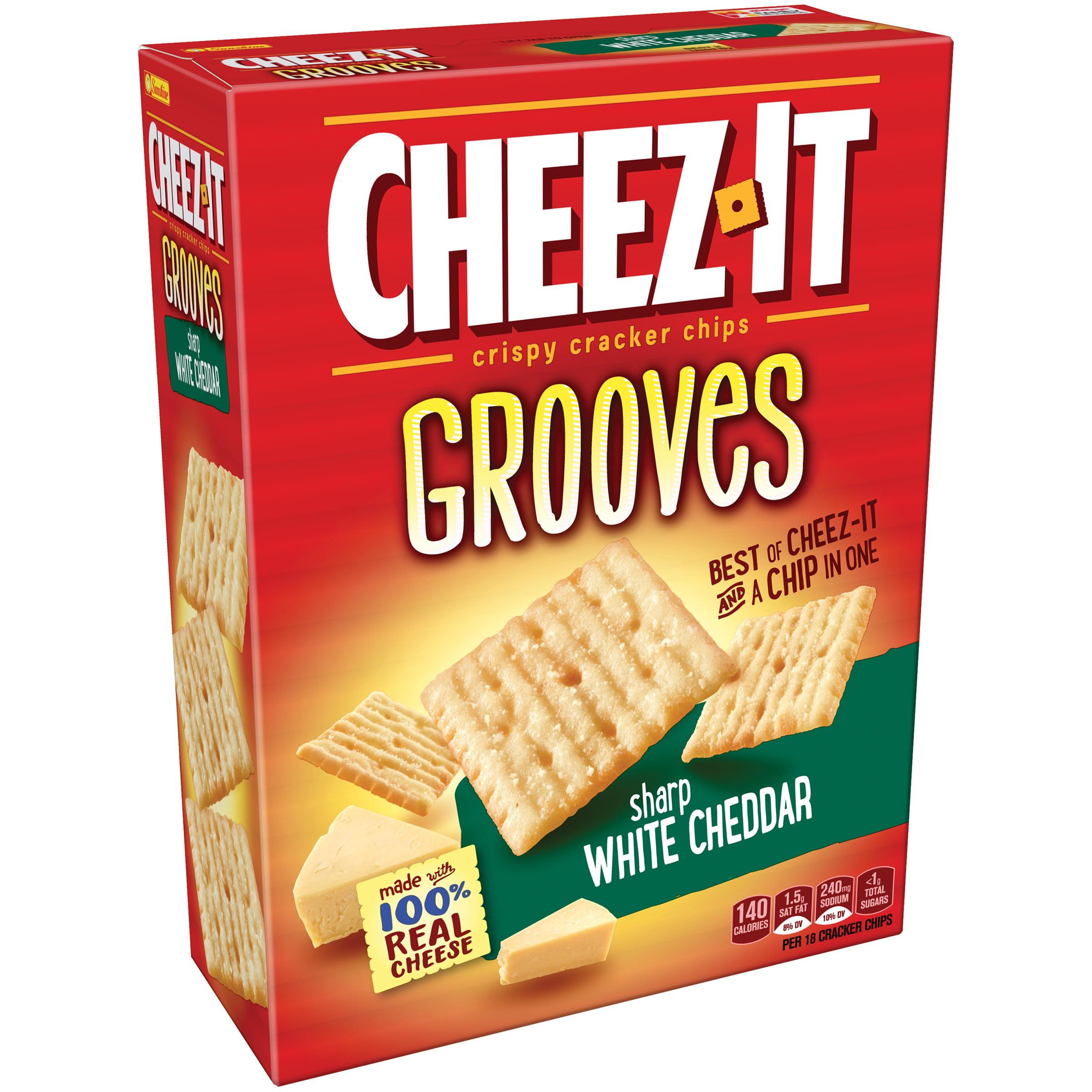 (2 Pack) Cheez-It Grooves Sharp White Cheddar Crispy Cracker Chips 9 oz