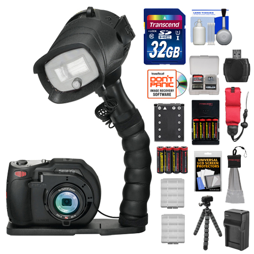 SeaLife DC1400 Pro 14MP HD Underwater Digital Camera with Flash & Flex Arm Bracket + 32GB Card + Battery & Charger + Tripod + Accessory Kit
