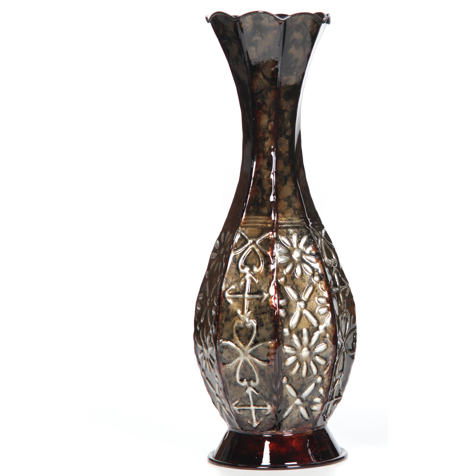 "Elegant Expressions Metal Embossed Fluted Vase, 14"" by"