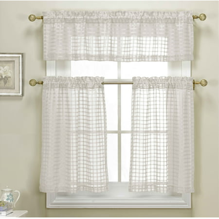 - 3 Piece White Sheer Kitchen Curtain Set: Woven Check Design, 1 Valance, 2 Tier Panels