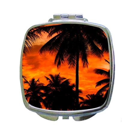 Olds Silhouette Heated Mirror (Orange Palm Tree Silhouettes Sunset Oasis Beach Square Shaped Compact Travel Pocket Size Beauty)