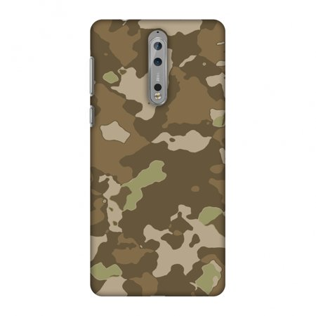Nokia 8 Case - Camou- Chocolate brown, Hard Plastic Back Cover, Slim Profile Cute Printed Designer Snap on Case with Screen Cleaning