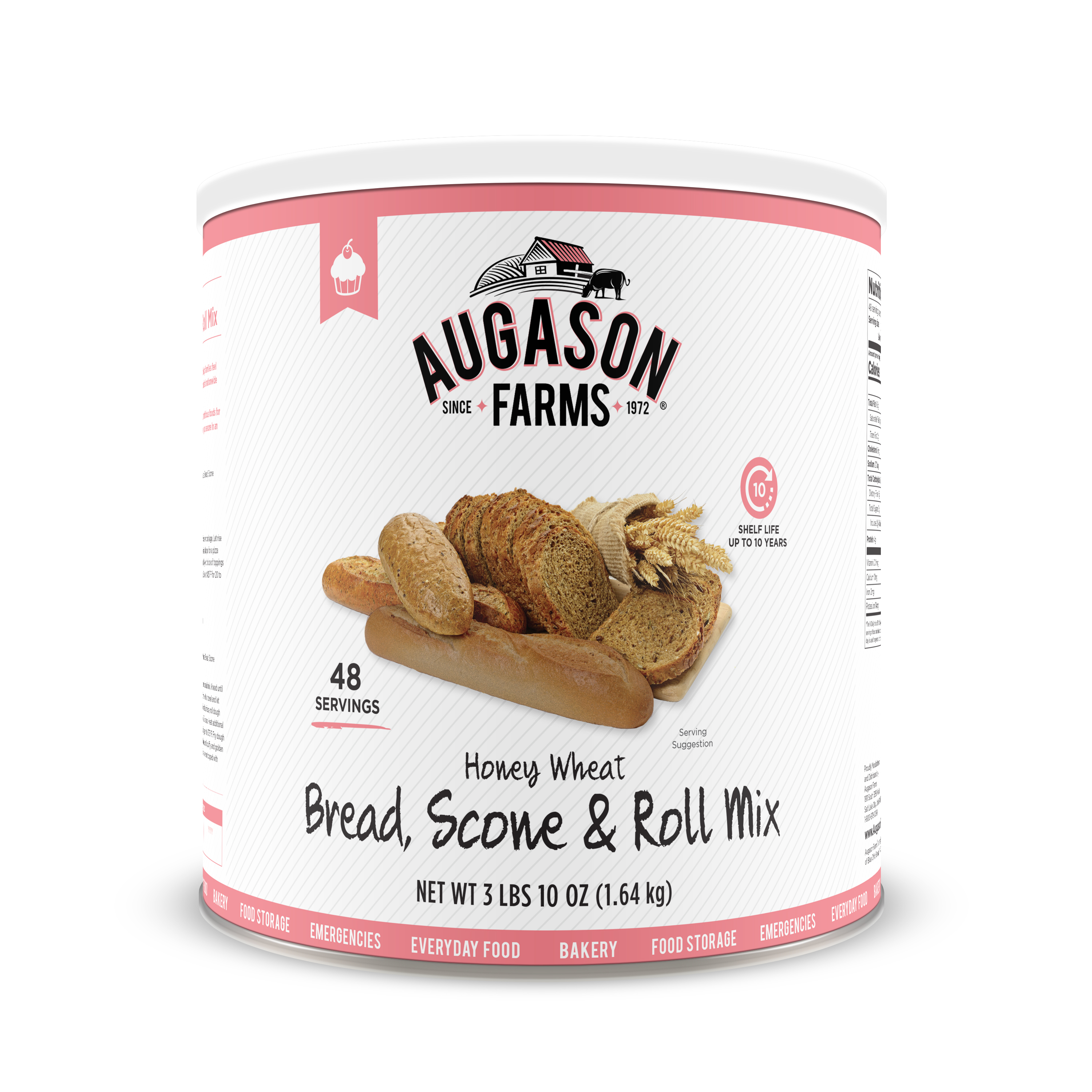 Augason Farms Honey Wheat Bread & Roll Mix 3 lbs 10 oz No. 10 Can